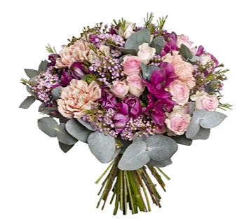 バラを基調としたお洒落な花束です。