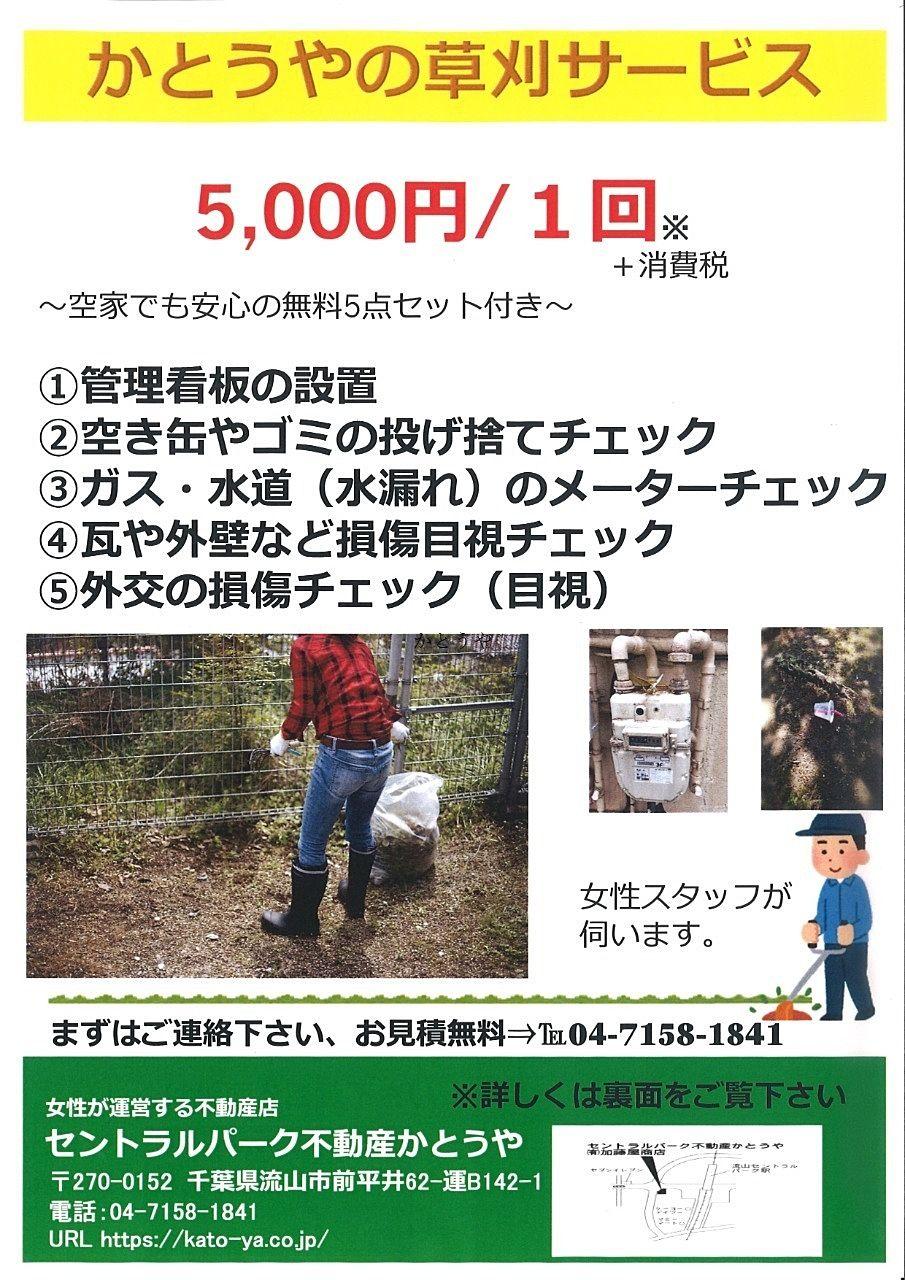 こんにちは、かとうや藤原です。突然ですが、草刈サービス始めました!多少ご条件がありますが、基本的にいただく費用は5,000円プラス消費税です。【50坪まで】